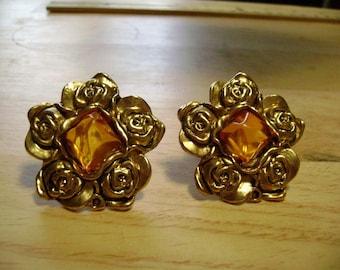 Brass Flower Clip on Earrings