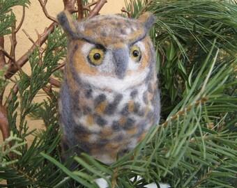 Mr. Great Horned Owl, needle felted bird sculpture
