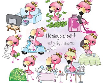 Flamingo clipart set 3 instant download PNG file - 300 dpi.