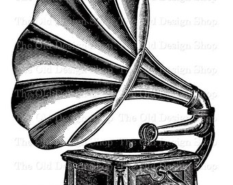 Antique Record Player Gramophone Graphophone Clip Art Vintage Music Printable Digital Download PNG JPG Image