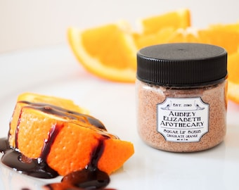 Lip Scrub - Chocolate Orange - gift for her - Sugar polish - all natural & vegan lip scrub -  two in one scrub and balm
