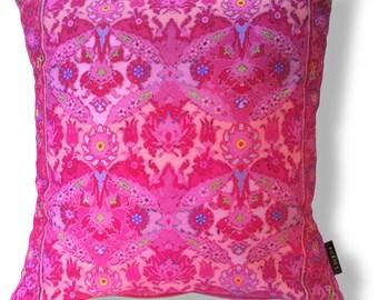 Sofa pillow pink velvet cushion cover CHERRY BLOSSOM