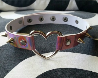 Holographic spiked choker collar