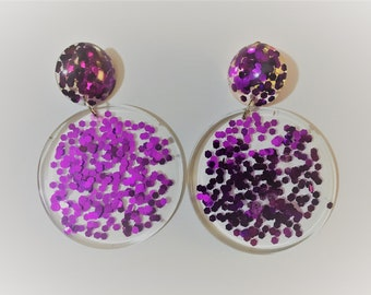 Purple Tinsel Town clipon earrings / clip earrings / resin dangles / statement earrings / large resin dangles
