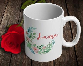 Personalized Mug, Custom mug, Floral mug