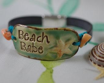 Beach Babe Leather Bracelet with Starfish - Leather Jewelry - Beach Bracelet