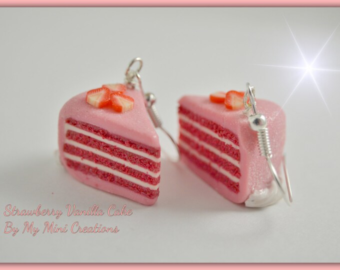 Food jewelry, Strawberry Cake with Vanilla Filling Earrings , Miniature Food Jewelry,  Miniature Food,