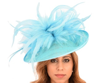 Buzzard Turquoise Hat for Kentucky Derby, Weddings on a Headband (30 colours available)