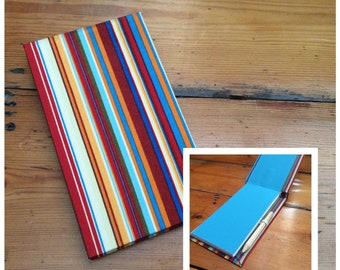 Jotter Notebook with Pencil/handmade/shopping list pad/memo book/fabric covered/striped fabric/deckchair stripes
