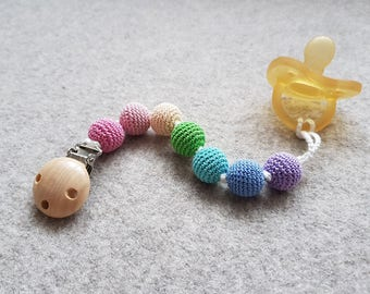 Soft Rainbow Pacifier Clip, Dummy Chain, Teething Clip - New Baby Gift - PC16