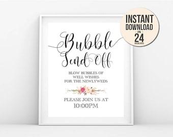 Wedding Send Off Sign - Bubble Send Off Sign, Print Ready Wedding Sign, DIY Wedding Decor Signage, Instant PDF Jpeg Template - BSO1 (BRIO)
