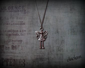 Necklace with pendant, silver, girl fairy