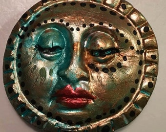 clay face moon jewelry craft supplies mask handmade spirit  woman blue mask  polymer  findings   doll parts head mask