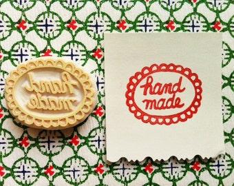 handmade rubber stamp | packaging stamp for artist & maker | diy craft market tags | support handmade | hand carved by talktothesun
