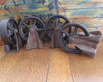 """Set of Four Matching 5"""" Rustic Vintage Style Rigid Metal Casters"""