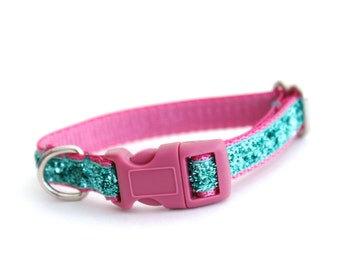Sparkle Puppy Dog Collar, Small Dog Collar in Pink, Teal Dog Collar, Aqua Turquoise,
