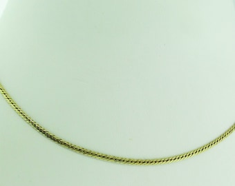 """14 K gold flat necklace. 15"""" long. Made in Italy."""