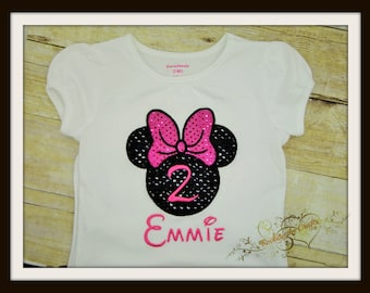 Sparkle Minnie Shilouette W/ Name and Number