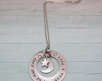 Mommy Necklace - Hand Stamped Jewelry - Moon Necklace - I love you to the moon - Kids Names Necklace - Personalized Necklace - Handstamped