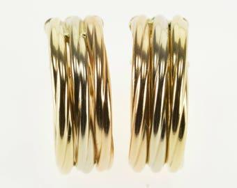 14k Tri Tone Layered Twist Round Hoop Earrings Gold