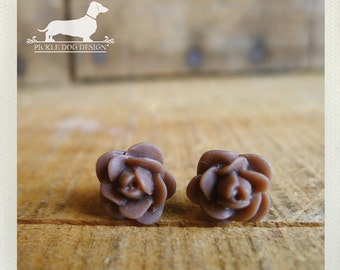 DOLLAR DEAL! Chocolate Brown. Rosebud Post Earrings -- (Vintage-Style, Flower Stud, Rustic Chic, Autumn Fashion, Simple, Bridesmaid Jewelry)