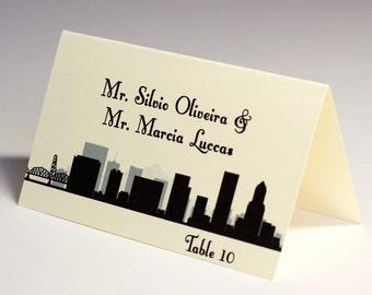 Portland Placecard Skyline City Handmade Custom Place Card Escort Wedding Bridal Other Cities Available