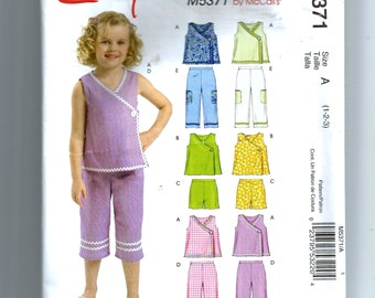 McCall's Toddlers' and Children's Tops, Shorts and Capri Pants Pattern M5371