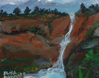 waterfall painting, original acrylic painting, Red Rock Waterfall, painting by Elisa Alvarado, original art, landscape painting