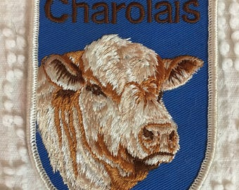 CHAROLAIS Cattle PATCH Detailed Stitching MINT Condition Agriculture Farming Cow