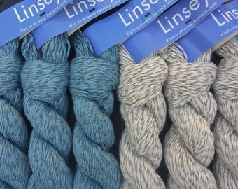 Berroco LINSEY New Stock! 8.99 +1.25ea to Ship - Cotton Linen Yarn Natural - Shell 6556 - Soft, Smooth, Cottony. Great for Sensitive Skin.