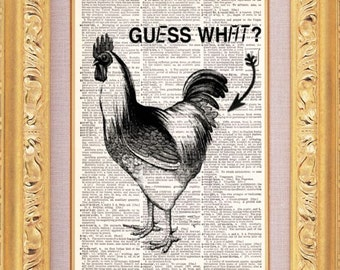 Guess What Chicken Butt - Vintage Dictionary Print Vintage Book Print Page Art Upcycled Vintage Book Art