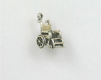 Sterling Silver 3-D Wheelchair Charm