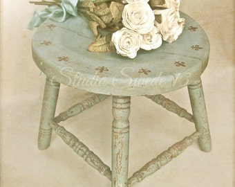 "French Country Photo, Country Kitchen Art, Shabby and Chic, Vintage Milking Stool, Rustic Farmhouse Decor, Romantic Roses- ""Rustic Love"""