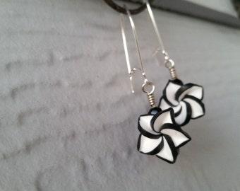 Black and White Flower Dangle Earrings