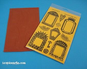 Nicho Frames / Invoke Arts Collage Rubber Stamps / Unmounted Stamp Set