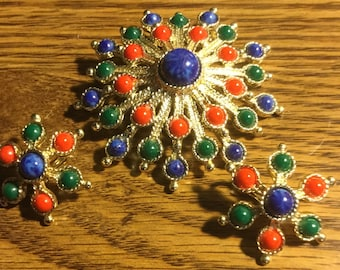 Starburst Sarah Coventry Brooch and Earrings Set