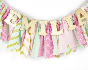 Pink, Mint and Gold Nursery Decor - Maternity Photo Prop - Name Banner - Birthday Banner - Garland - Photoshoot Prop