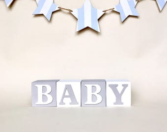 Montessori Bedroom, Custom Baby Name Baby Blocks, Personalised Wooden Letter Blocks, Personalised Blocks For Baby, Grey Neutral Nursery