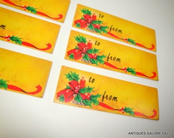 Vintage Christmas Gift Tags, To and From, Retro, Holiday, Candle, Holly, Yellow  (897-14)
