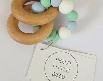 Teething Toy SPEARMINT - Silicone and Beech Teething Toy Chunky Silicone Teething Ring - Baby Teether - Wooden Teether