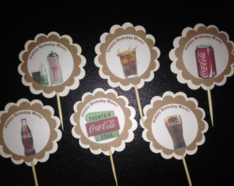 Coke cupcake toppers Vintage look Coca Cola soda fountain Sock Hop 50s Party