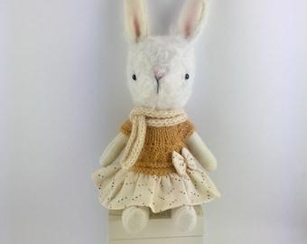Mohair bunny - White bunny doll- Easter gift- Spring bunny 18 cm tall