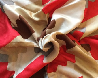 Fun Jigsaw Puzzle Pieces Unsigned Women's Silk Scarf 1950's 1960's Hand Rolled Hand Stitched Edges Red Brown Gray White Beige Mid Century