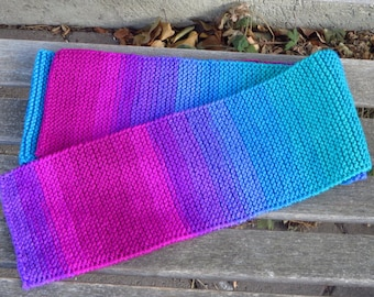 Hand Knit Striped Scarf, Purple Blue Green Pink Knitted Scarf, Variegated Scarf, Extra Long 80 inches, Ombre Striped