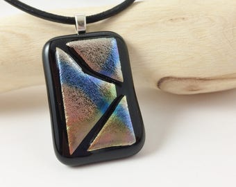 Fused Glass Pendant, Fused Glass Necklace, Fused Glass Jewelry, Dichroic Glass Pendant, Dichroic Glass Necklace, Glass Pendant