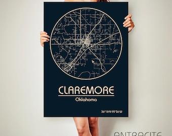 CLAREMORE Oklahoma CANVAS Map Claremore Oklahoma Poster City Map Claremore Oklahoma Art Print Claremore Oklahoma poster Claremore