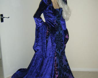 Purple Medieval renaissance hooded wedding dress salem whitby  game of thrones made to order