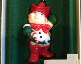 Vintage Christmas Hallmark Ornament Cowboy Snowman