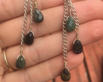 Jasper Dangle Silver Chained Earrings