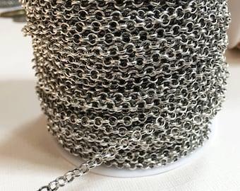 10 ft  Antique silver Rollo chain 3.2x1 mm , bulk rolo chain, open link chain